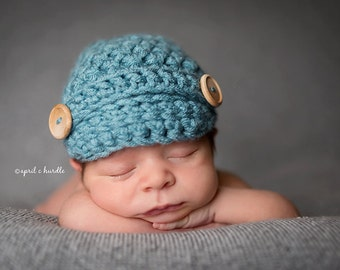 Light Blue Newsboy Hat Newborn Baby Photography