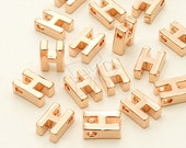 IN-241-RG / 2 Pcs - Initial Tiny Pendant, Alphabet, Capital letter, Upper case, H, Rose Gold Plated over Brass / 5mm x 7mm
