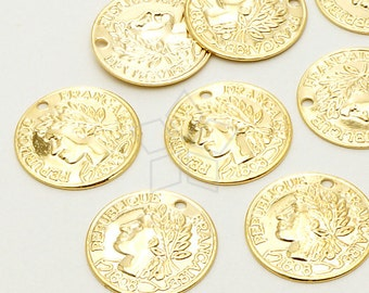 PD-691-GD / 10 Pcs - Francaise Thin Coin Pendant, 16K Gold Plated over Brass / 15mm