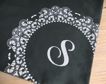 SALE Personalized Doily Tote Bag with Letter S Monogram in Forest Green / Screenprinted Doily Lace Gift for Woman