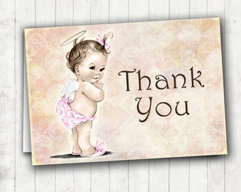 Matching Thank You Card - Vintage Baby Shower Invitation For Girl - Baby Angel - Pink - DIY Printable