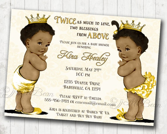 boy and girl twins african american baby shower invitation for, Baby shower invitations