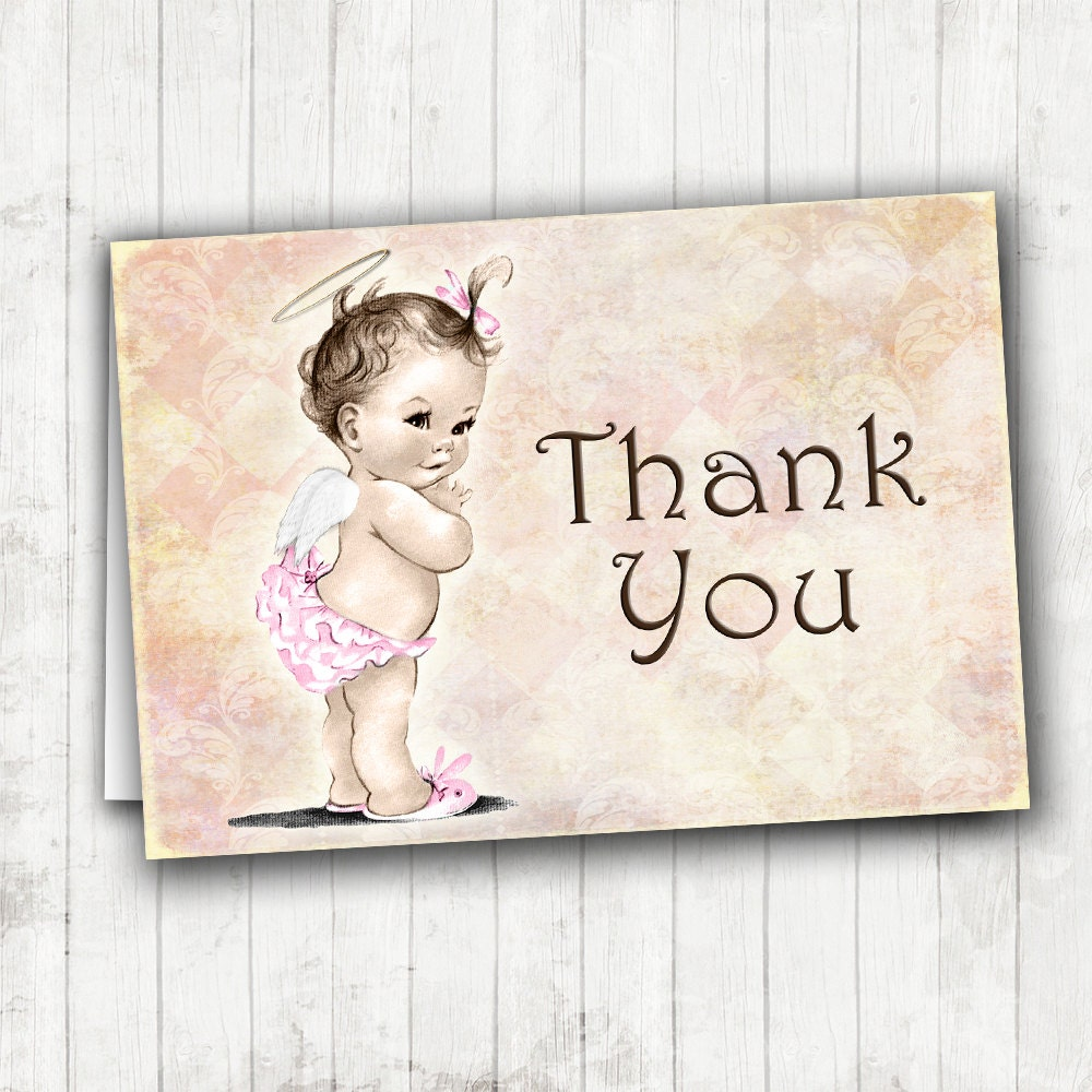 Vintage Baby Shower Invitations Girl: Matching Thank You Card Vintage Baby Shower Invitation For