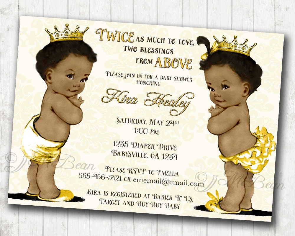 Baby Shower For Boy And Girl ~ Boy and girl twins african american baby shower invitation for