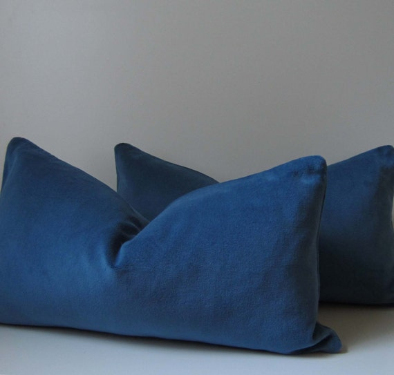 12 Inch Throw Pillow Covers : French Blue Velvet Pillow Decorative Pillow Cover by studiotullia
