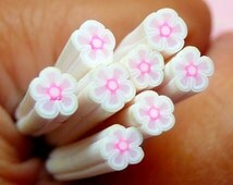 White Flower Polymer Clay Cane Floral Fimo Cane Nail Art Nail Decoration Scrapbooking Earrings Making Miniature Sweets Deco CFW071