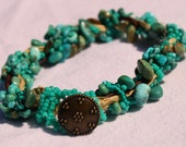 Turquoise Sari Silk Bracelet with Brass Button - AntiquityTravelers