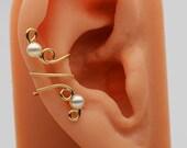 Ear Clip Gold Filled Swarovski Cream Pearl Ear Cuff Wrap
