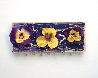 Jewelry Hanger - Purple and Yellow Pansies