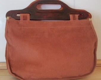Boho Handbag. Corduroy Hnadbag. Purse with Faux Tortoise Handles