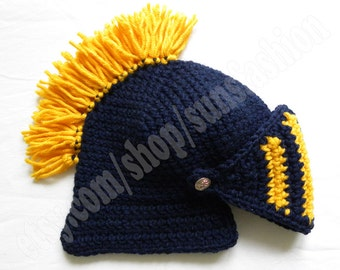 knight helmet crochet beanie hat original gift navy blue yellow  knitted cap knight hats mens awesome snowboard ski men kid women unisex hat