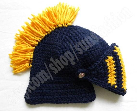 knight helmet crochet beanie hat original gift navy blue yellow  knitted cap knight hats mens awesome snowboard ski men kid women unisex hat