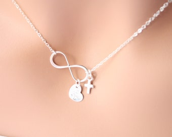 All Sterling Silver Infinity necklace , with tiny Cross and Heart ,engraved monogrammed charm with option you can choose more heart