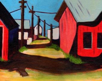 Barn- Acrylic Landscape Painting