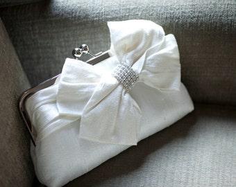 Bridal Bow Clutch, Rhinestone, Swarovski Crystal Clutch, Wedding Clutch, Ivory Purse, Formal Purse, Prom Clutch {Glam'd Up Pretty Kisslock}