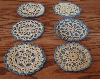 Round Coasters Hand Crocheted with Cotton Bedspread Thread Set of Six