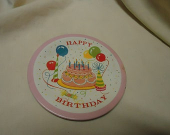 Vintage Tin or Metal Happy Birthday Saucer, collectable, toy, litho