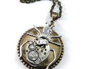 Steampunk Jewelry Clockwork Beetle Watch Movement Pendant Brass Insect, Steampunk Jewelry by Compass Rose Design