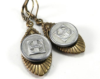 Steampunk Earrings, Antique SANTA FE RAILROAD Uniform Buttons, Historical Travel Jewelry, Steampunk Jewelry by Compass Rose Design