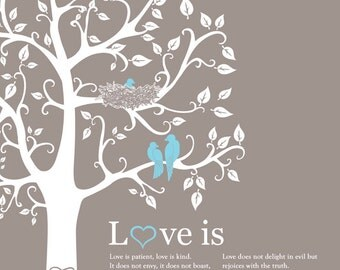 Personalized Family Gift Custom Gift for Wife Christmas Gift Family Tree with Love Birds Wedding Anniversary Gift Paper Anniversary