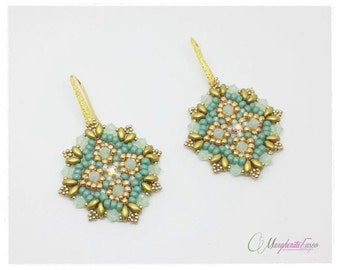 Rinascimento earrings tutorial. DIY pattern, earrings, superduo beads, swarovski crystals