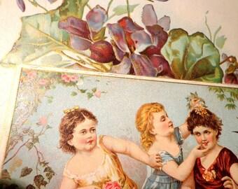 Vintage Victorian Large Card Young Girls Frolicing Violets Gold Leaf Flowers Antique Card