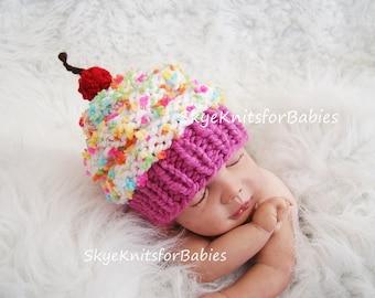 Newborn Baby Cupcake Hat, Baby Girl Hat, Baby Boy Hat, Cupcake Hat, Knit Cupcake Hat, Children Cupcake Hat, Newborn Photography Prop