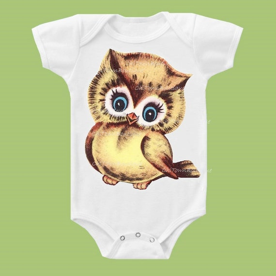 Cutest Retro Owl, Blue or Green Eyes, Owl T Shirt, Retro Owl Shirt, Infant One Piece, Toddler Owl Tee by ChiTownBoutique.etsy
