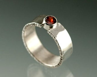 Red Pyrope Garnet and Sterling Silver Wide Ring, January Birthstone Silver Ring, Mother's ring, Engagement Ring