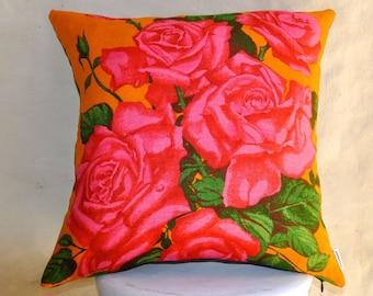 ROSES Vintage Irish Linen Tea Towel Cushion Upcycled Repurposed Spring Flowers Pillow Cushion hot pink bright orange floral denim