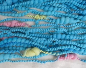 Handspun Art yarn hand spun hand dyed blue yellow  pink hand dyed bulky knitting supplies crochet supplies Waldorf doll hair wool  newborn