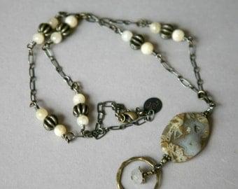 Silver Needle Jasper, Honey Jade and Antiqued Brass Eyeglass Holder Necklace/Lanyard