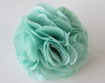 Silk Flower Clip and Brooch - Approx 6cm - Mint - Double Metal Clip