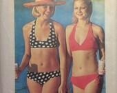 Vintage Pattern Retro Every Body Bikini 1970s Medium Size 12-14 Two Piece Bathing Halter Top Suit