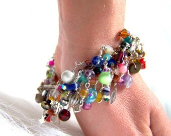 UniqueNecks bracelet. layered. rainbow. gemstones. multicolored.  birthday gift