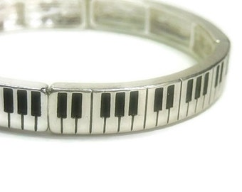 Keyboard Bracelet - Piano Bracelet - Musical Piano Keyboard Metal Stretch Bracelet
