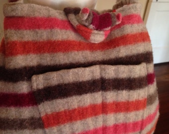 Recycled Red Striped Wool Sweater Shoulder Bag