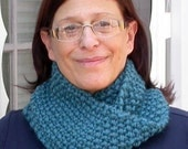 Hand Knit Seed Stitch Cowl, Infinity Scarf, Turquoise Blue Bulky Acrylic Blend Yarn, Versatile Fall, Winter Accessory