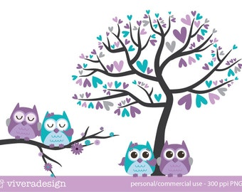 Owl Love Birds - in Purple, Turquoise, and Grey - Digital Clip Art