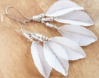 Summer Party Nature Jewelry Sterling Silver Earrings Long Cluster Earrings Snow White Wedding Earrings Frosted Lucite Leaf Earring Crystal