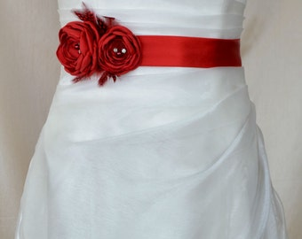 Handcraft Hot Red Two Flowers With Feathers Wedding Bridal Sash Belt