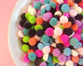 Funky Spiky Pom Pom Cabochons, Colorful Little Berries, Half Ball Resin Flat Back Cabs, Set of 18 (P12)