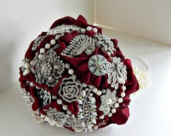 Deep  Red, brooch wedding bouquet  brooch bridal bouquet, bridal wedding brooch bouquet