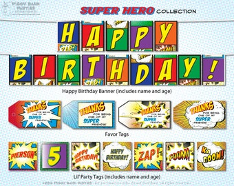 SUPER HERO Collection : DIY Printable Comic Book Inspired Birthday Decorations // Superhero Birthday // Superhero Printable