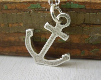 Anchor Necklace - Antiqued Silver Pewter Anchor Charm Necklace Silve Chain