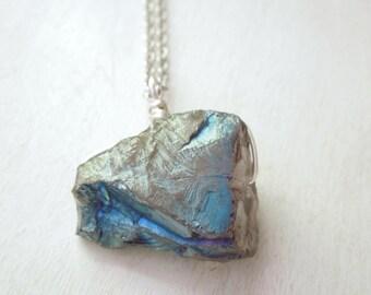 Blue Green Mystic Titanium Quartz Necklace- Natural Quartz Nugget Teal Titanium Pendant Necklace Silver Chain stone no.2