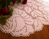 Beautiful Crochet White Rose Garden Oval table tupper.
