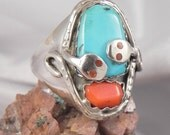 Turquoise and Coral Mens Snake Ring signed Effie C