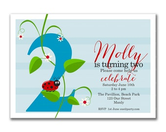 Blue Ladybug 2nd Birthday Invitation, Printable ladybug Invitation, Ladybug, ladybird, 1st Birthday, Girl Birthday. 1048