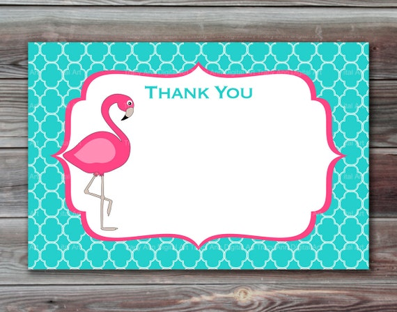 Flamingo Thank You Cards Printable Thank You By